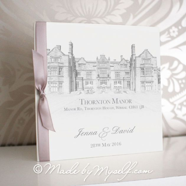 Thornton Manor Pocketfold Wedding Invitation - Includes RSVP & Guest Information